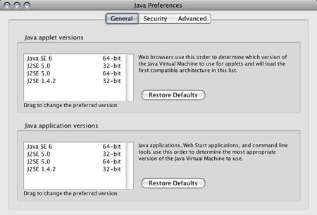 OS X Java Preferences