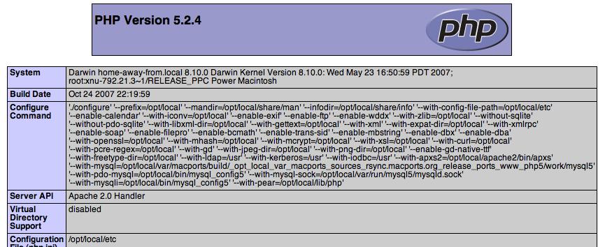 PHP Info display
