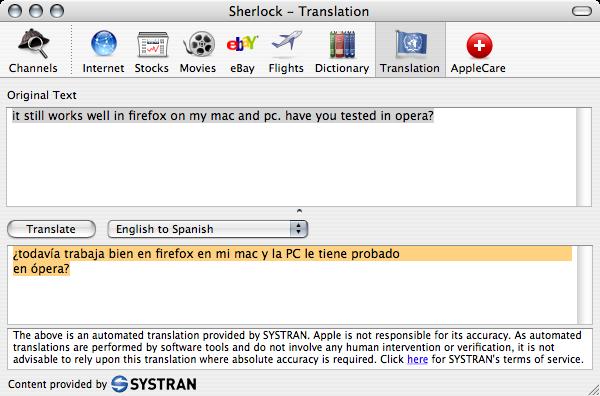 Translation with Apple's Sherlock